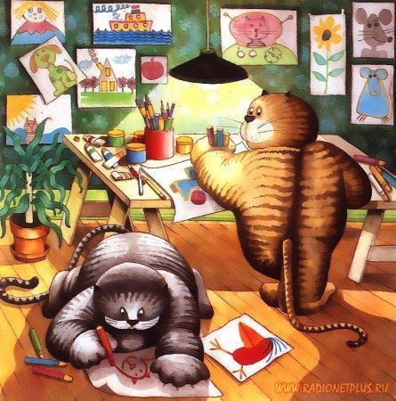 Рисованые коты :)