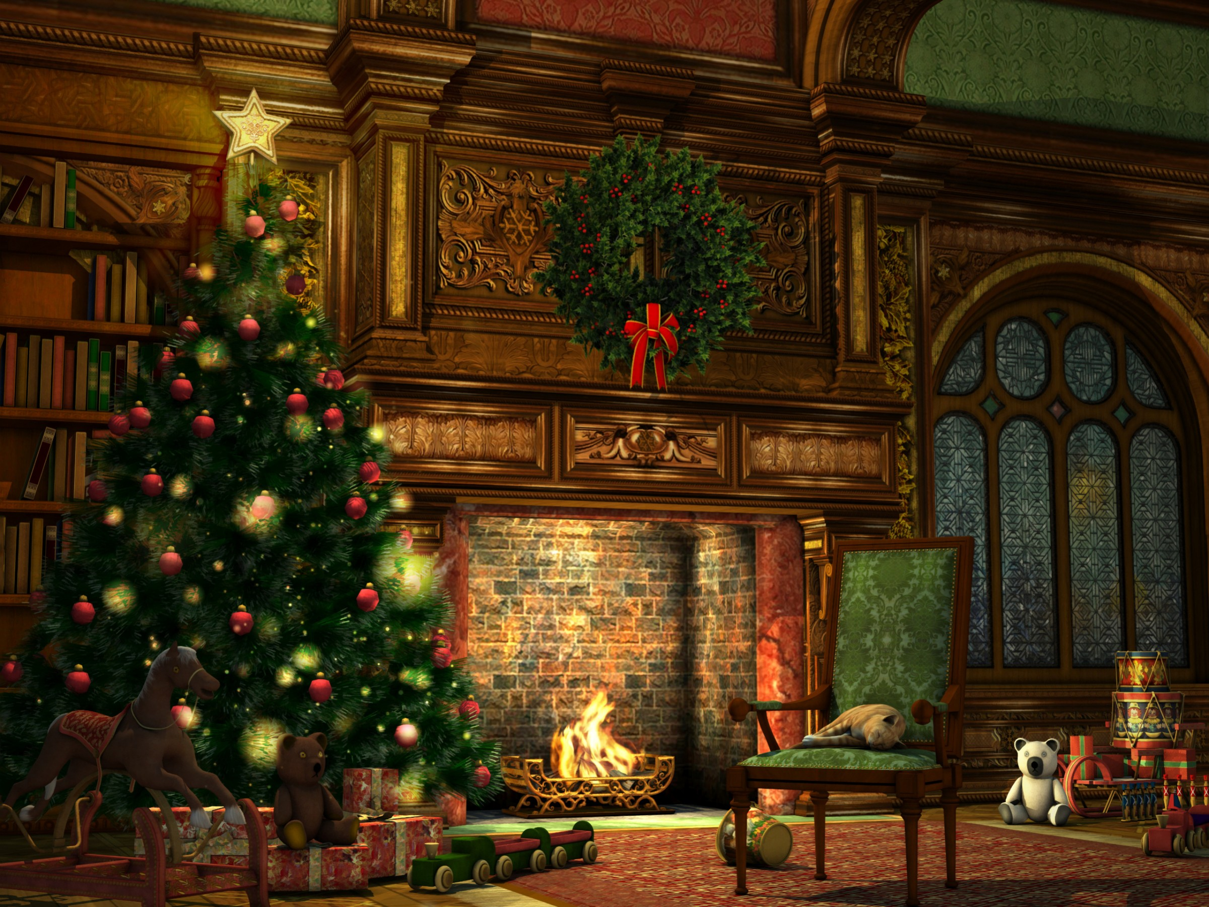 Christmas Decorated Fireplace Screensaver : Quot