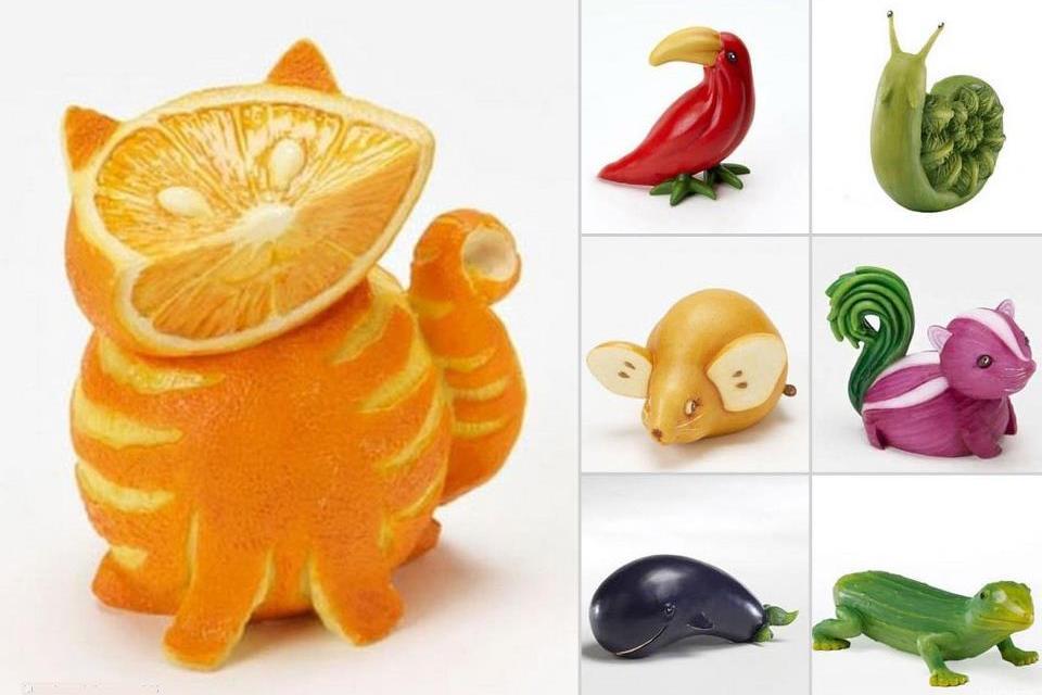 Фигурки животных из овощей и фруктов