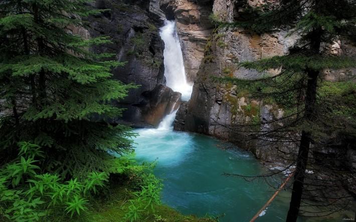 лесной водопад