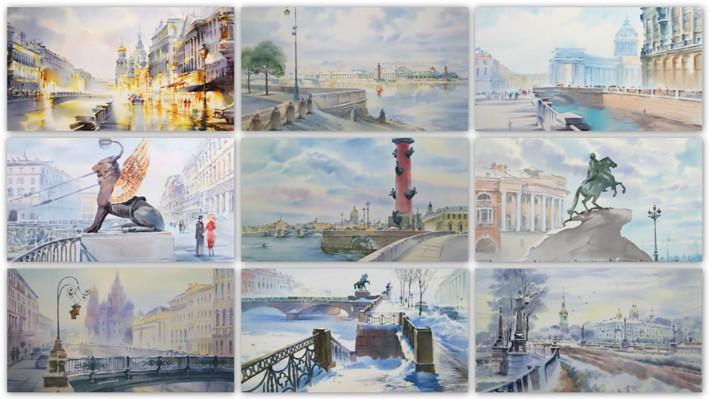 Картинки по запросу акварели петербурга