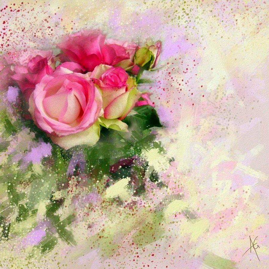цветочная акварель схема