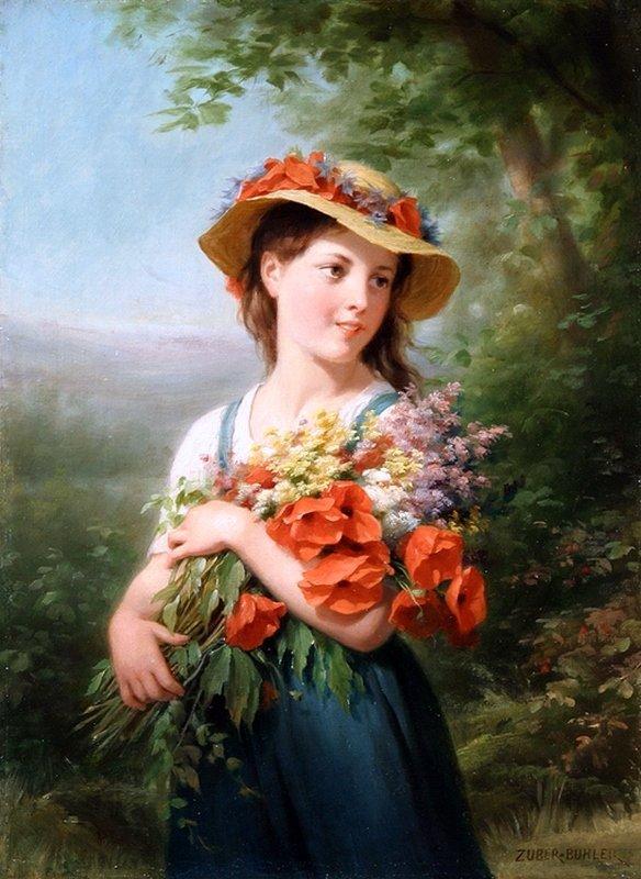 Художник Fritz Zuber-Buhler,Девушка с букетом полевых цветов