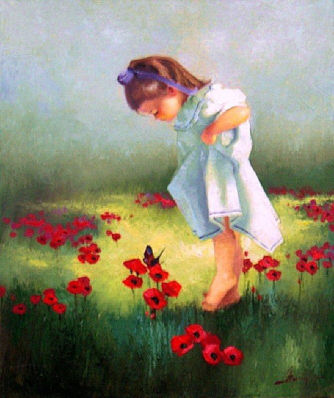 Художник: Алексеенко Лариса, Цветы в пшенице