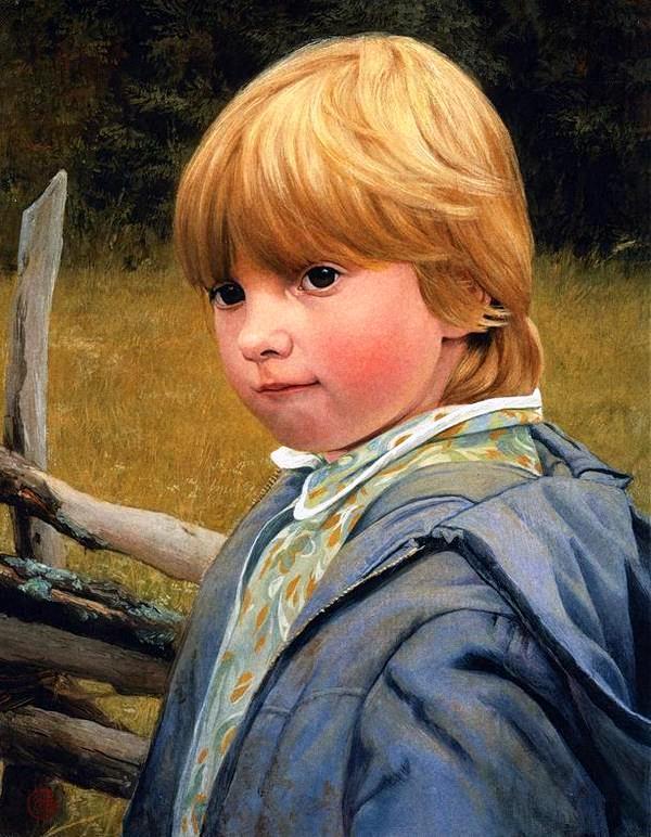 Художник Сайда Афонина Портрет мальчика с золотистыми волосами