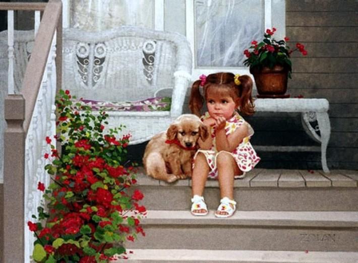 Дональд Золан, Девочка с собакой