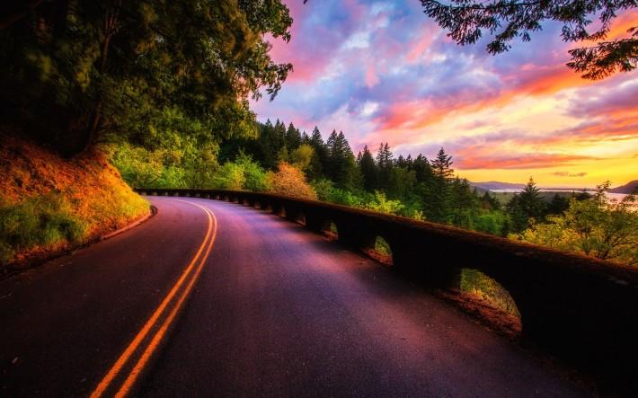 Дорога осень закат