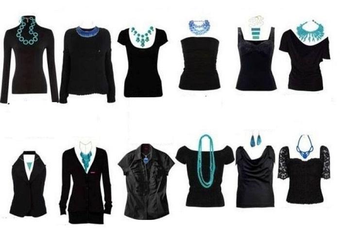 Как правильно сочетать украшения и вырез на одежде
