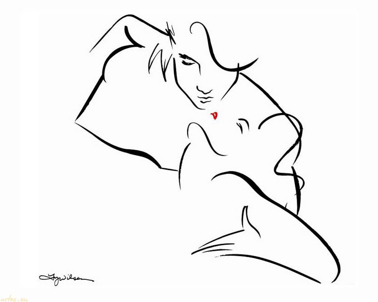 Эротический поцелуй в картинках 23 фотография